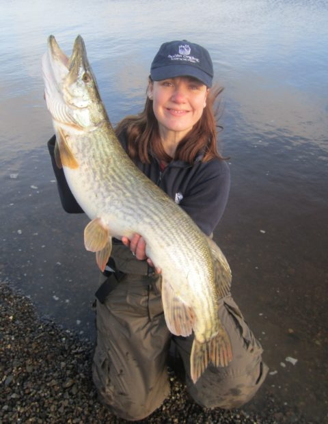 Josie Mahon of Inland Fisheries Ireland with her 17lb 8oz pike from Blessington