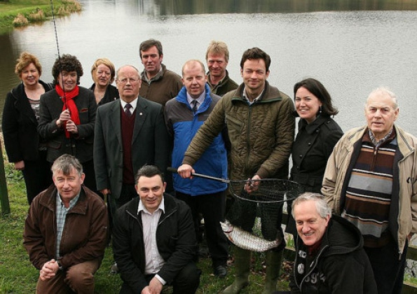 Pictured at Stradbally Lake on Thursday last , for the stocking of Rainbow Trout at the Lake , were: Front ( l. to r.) Liam Kelly, Sean Lawlor ( Dept. of Social Protection ) and Dominic Hartnett ( Chairperson - Stradbally Development Assoc. ). Back ( l. to r.) Anne O'Neill ( Athy Community Council ) , Anne Goodwin ( C.E.O.Laois Partnership ) , Rita Kelly ( J.I.C. Scheme) , Kyrle Delaney ( Stradbally Development Association ) , Martin Mahon ( Chairperson , Stradbally Anglers Club ) , Dom Reddin ( Laois Tourism Officer ) , John Cowen ( Assistant Inspector - Inland Fisheries Ireland ) , Thomas Cosby ( Land owner ) , Orla Mulligan ( Laois Partnership ) and Larry Swaine ( Stradbally Anglers Club ).