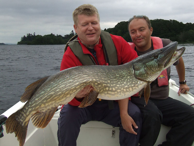 Robert Tamer, Poland, with his pike of 32lbs, Lough Corrib, May 2012. The fish had been caught and released a week earlier prior to spawning when it weighed 35.5lbs.