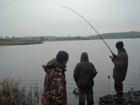 One of the Few Action Scenes as a Fish is Played Out at Concra Wood on Sunday