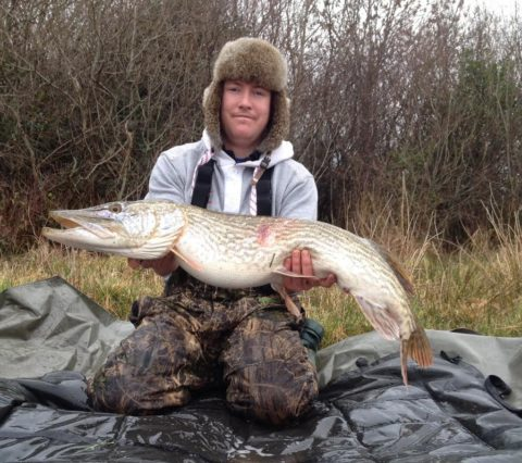 Karl with that lovely 20 lb.+ pike to wrap up a memorable session.