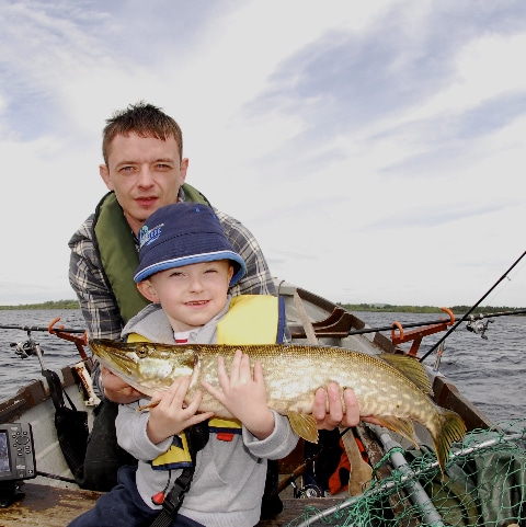John and Jack Egan pictured on Derravaragh.Jack is only 6 years old and has some fishy tales to tell his schoolmates this week !