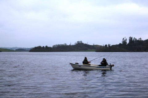Two Anglers Wait for the Pike to Hit on Muckno This Afternoon