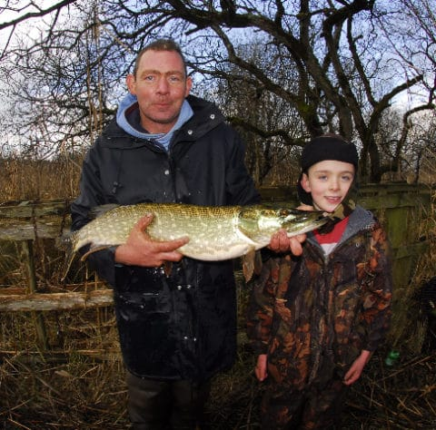 David Boyle and son with Glore pike