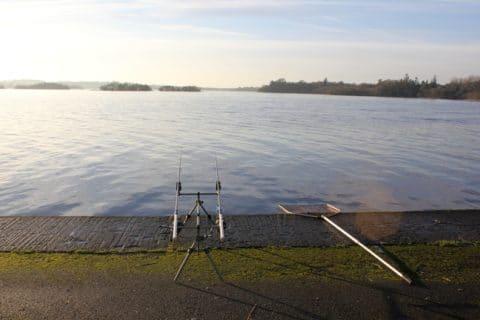 An Angler Awaits a Run on His Rods Today on Lough Ramor.