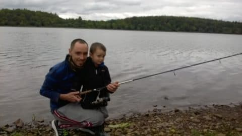 Jack Phelin fishing with his Dad Caoimhin angling on the shoreline