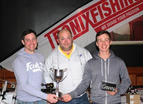 Two Man Teanm Winners James Ryan (left) and Dean Quigley (right) Receiving Their Presentation from George Cunningham (TronixFishing)