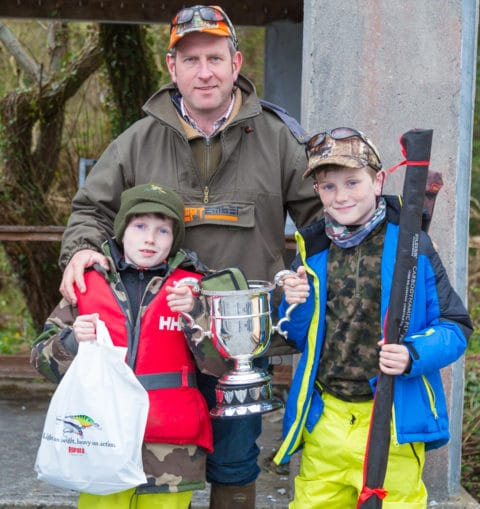 David Ryan from Cong, who won the Cong Angling Club Easter Competition, pictured with his sons Donal (left) and Daithi (right) after the presentation of prizes.