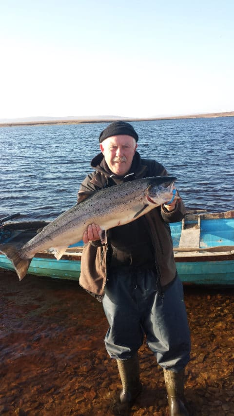 Gerry Carolan with his magnificent 16 lbs. Carrowmore springer