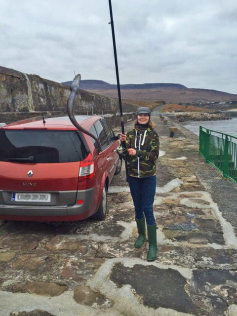Linda Campbell with a nice conger eel caught during a recent session on Mulranny Pier