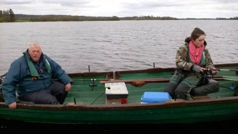 Mr Liam Waterstone and Grand Daughter Shannon Waterstone Trout angling on Lough Derg - Sunday 17th April 2016