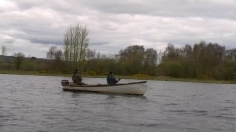 Mr Biran McInerney and another Inagh man fishing the Wet Fly on Lough Derg