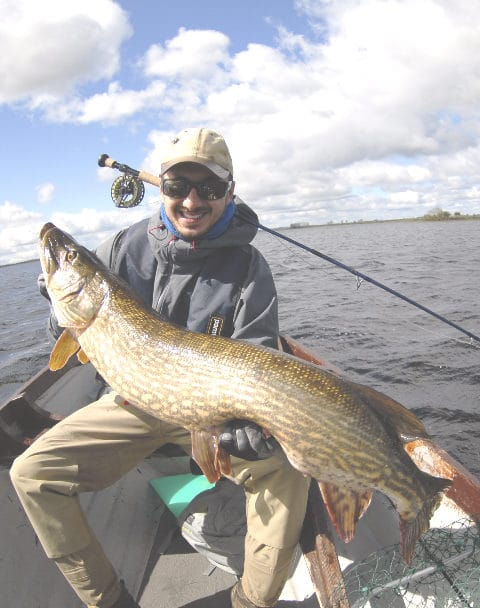 Stefano Balisario and his 109cm pike caught on the fly