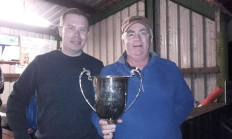 Lene winner Aidan Haffernan received the Larry Mulligan Cup from Barry Mulligan son of the late Larry