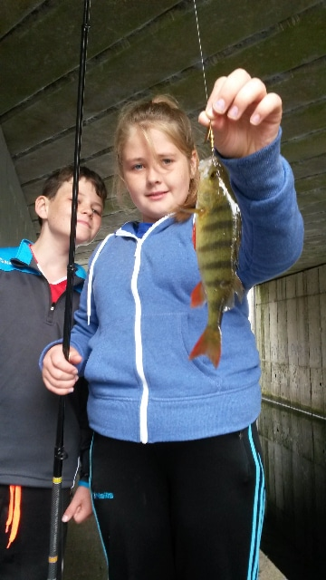 Rachel with her first perch