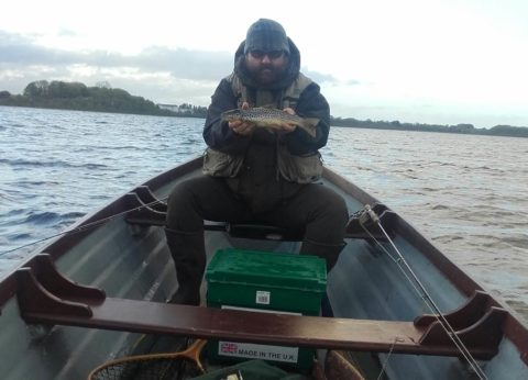 About to go back. Garry Keaveney with a nice pounder. One amongst many more to fall to the Shield's Royal Wulff.