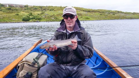 A fine Connemara sea trout of 2-2.5lbs for Kevin Crowley on Fermoyle Lough.