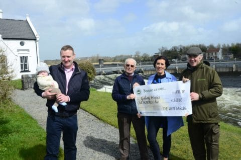 Fergal Cormican and son Remy with Ann Dunne, White Gables Restaurant, Moycullen, Gerry Molloy, Galway Hospice and fishery manager Seamus Hartigan