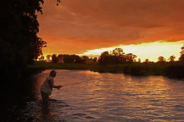 Fishing the evening rise on the Boyne Valleys Kells Blackwater, Ireland