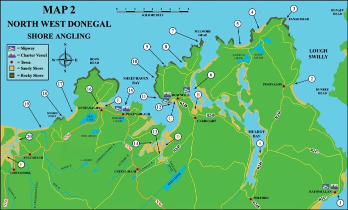 Sea angling Map North West Donegal