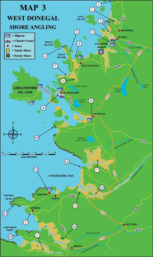 Sea fishing map west Donegal