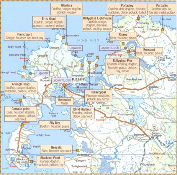 Fishing map of Belmulet