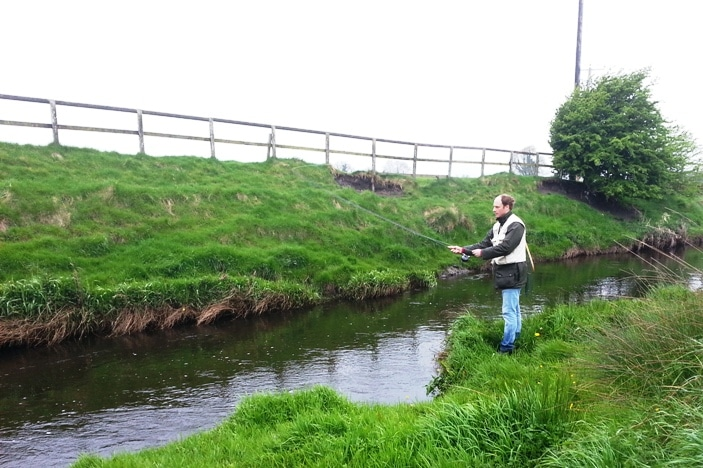 Trout fishing on the Stoneyford River, Co. Meath