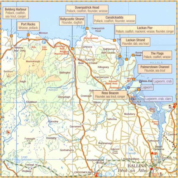 Sea fishing map of Killala