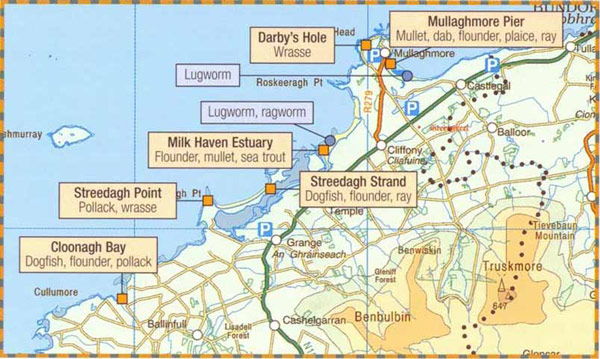 Sea fishing map for Mulaghmore