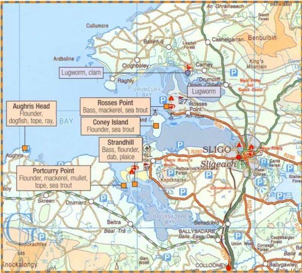 Sea fishing map for Sligo