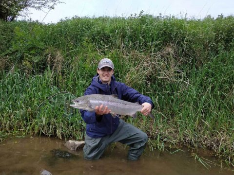 George with his salmon from the Blackwater Salmon Fishery