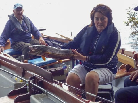 Mara Keaveney from Tuam with her first Corrib fish, a fine trout of 5.5lbs caught while trolling, and her uncle John Joe Mullen.