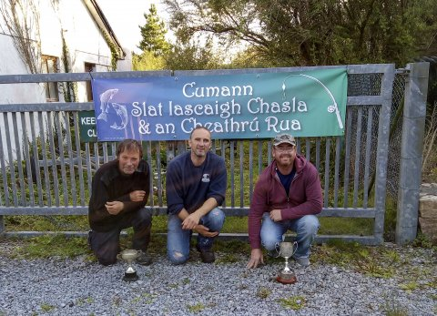 Prize winners in the Cumann Slat Iascaigh Chasla & an Cheathru Rua competition on Glenicmurrin, which saw good catches of sea trout.