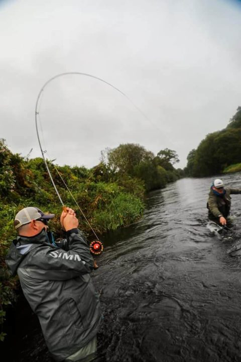 Rod bent at the but and fish nearly in the net!! Photo by James Barry