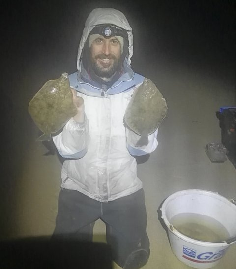Brian Reidy with a nice double shot of 30cm flounder
