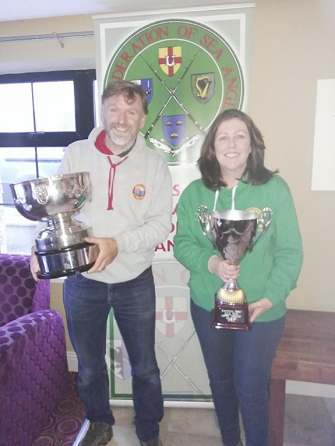 Mens and Ladies Master Anglers Des Farrelly and Tracey Whelan with the coveted trophies