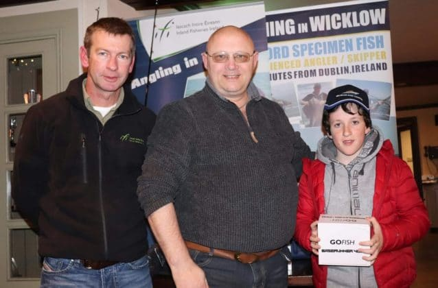 Aaron Cullinan collecting his Bait runner reel prize