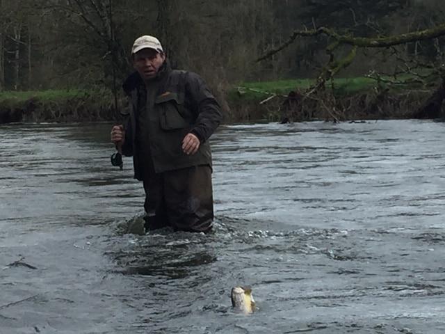 Pat lands a trout
