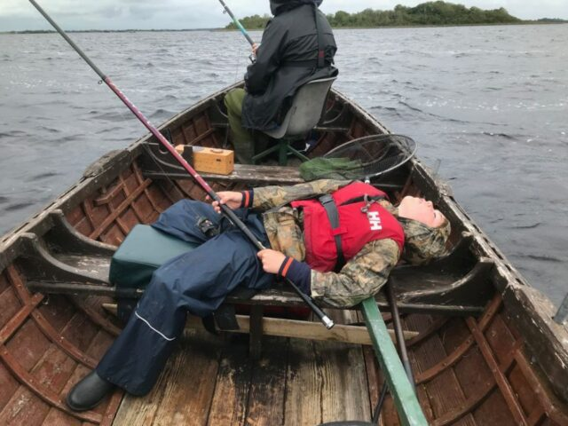 Lachlann Gately age 9, caught 7 trout on mid sized cricket on CORRIB - and enjoyed a good sleep