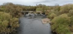 scenic shot of river and bridge