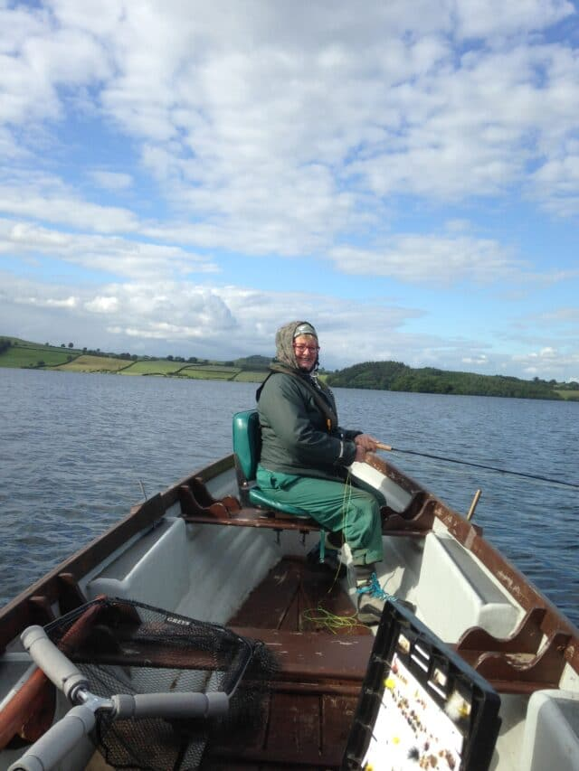 Julie Cook from Invercargill New Zealand enjoying a days fishing on Lough Lene in Co Westmeath, on a 2019 trip to Ireland