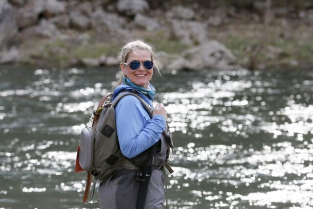 Pamela Dunlap getting ready for a days guiding on the Potomac River, WV, USA.